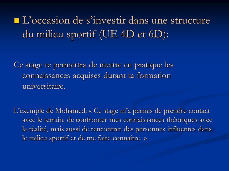 Loccasion de sinvestir dans une structure du milieu sportif (UE 4D et 6D): Loccasion de sinvestir dans une structure du milieu sportif (UE 4D et 6D):