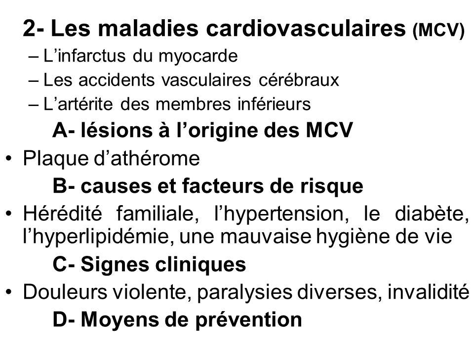 2- Les maladies cardiovasculaires (MCV) –Linfarctus du myocarde –Les accidents vasculaires cérébraux –Lartérite des membres inférieurs A- lésions à lo