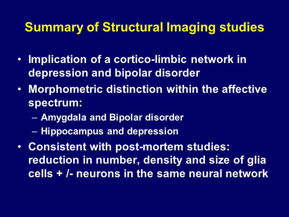 Summary of Structural Imaging studies Implication of a cortico-limbic network in depression and bipolar disorder Morphometric distinction within the a