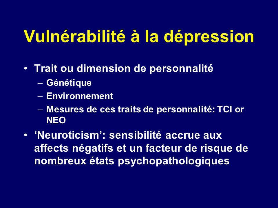 Vulnérabilité à la dépression Trait ou dimension de personnalité –Génétique –Environnement –Mesures de ces traits de personnalité: TCI or NEO Neurotic