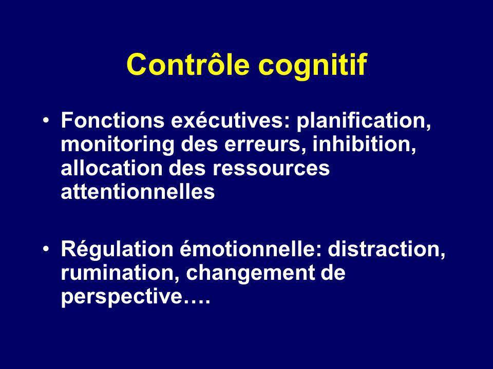 Contrôle cognitif Fonctions exécutives: planification, monitoring des erreurs, inhibition, allocation des ressources attentionnelles Régulation émotio