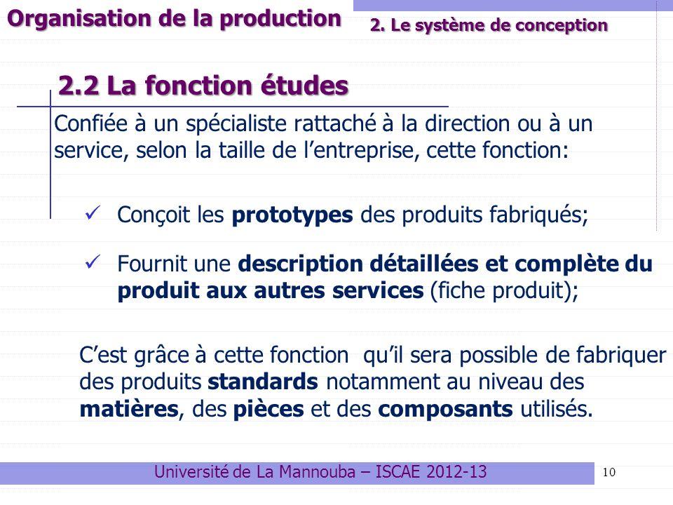 2.2 La fonction études Confiée à un spécialiste rattaché à la direction ou à un service, selon la taille de lentreprise, cette fonction: Conçoit les p