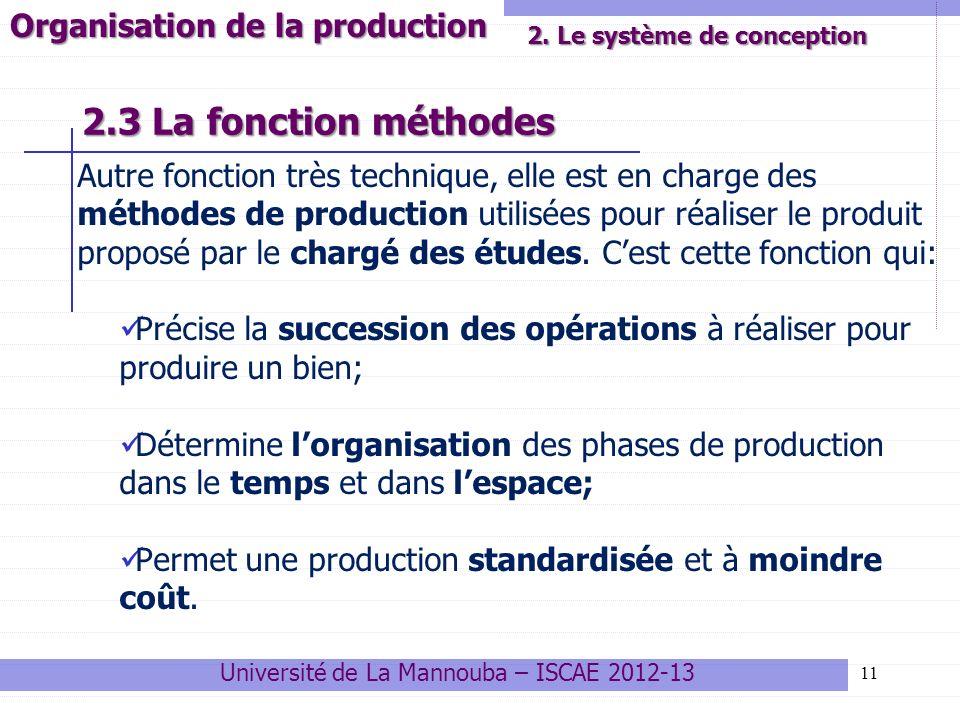2.3 La fonction méthodes Autre fonction très technique, elle est en charge des méthodes de production utilisées pour réaliser le produit proposé par l