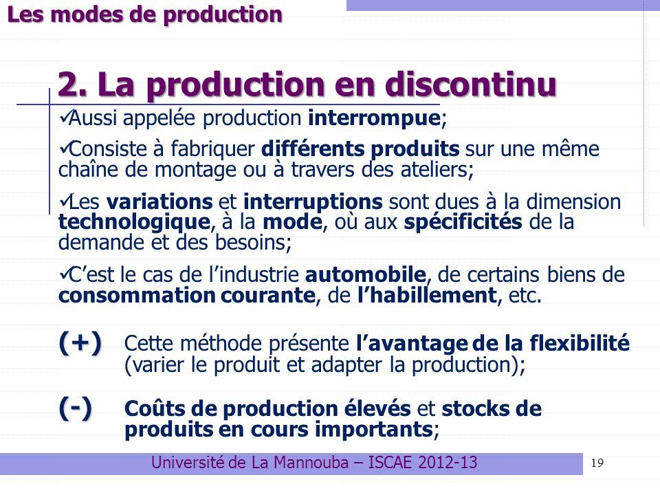 19 Université de La Mannouba – ISCAE 2012-13 Les modes de production 2. La production en discontinu Aussi appelée production interrompue; Consiste à f