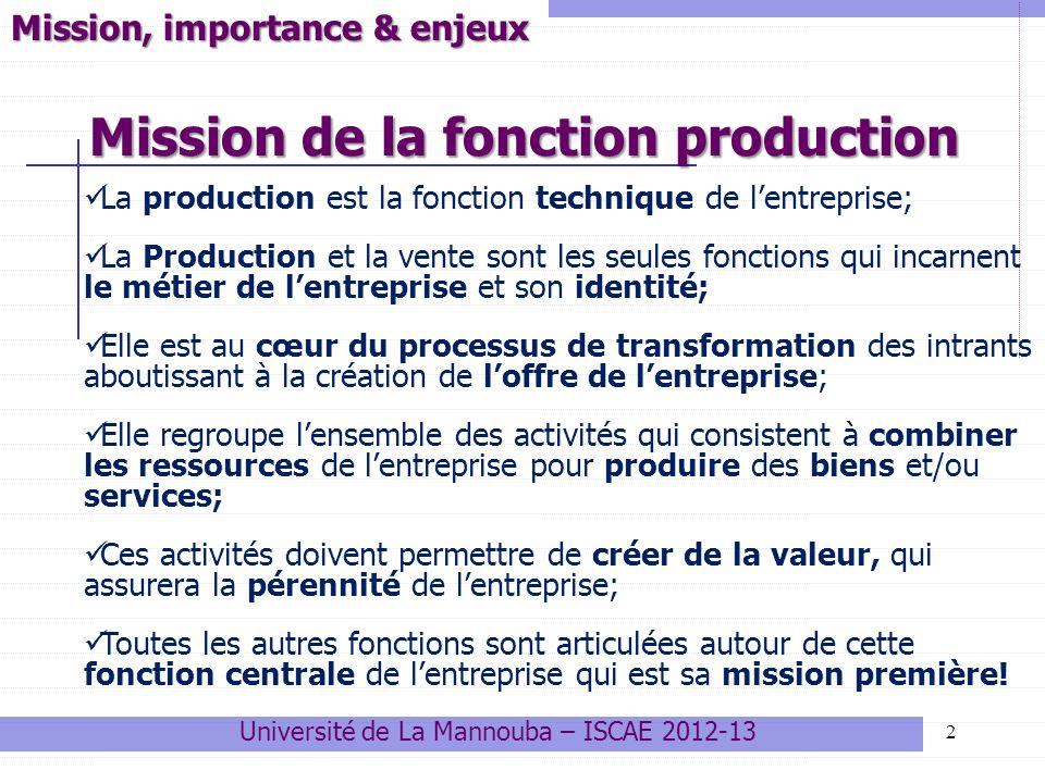 Mission de la fonction production 2 Mission, importance & enjeux La production est la fonction technique de lentreprise; La Production et la vente son