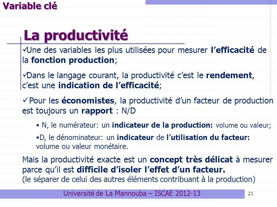 21 Université de La Mannouba – ISCAE 2012-13 Variable clé La productivité Une des variables les plus utilisées pour mesurer lefficacité de la fonction