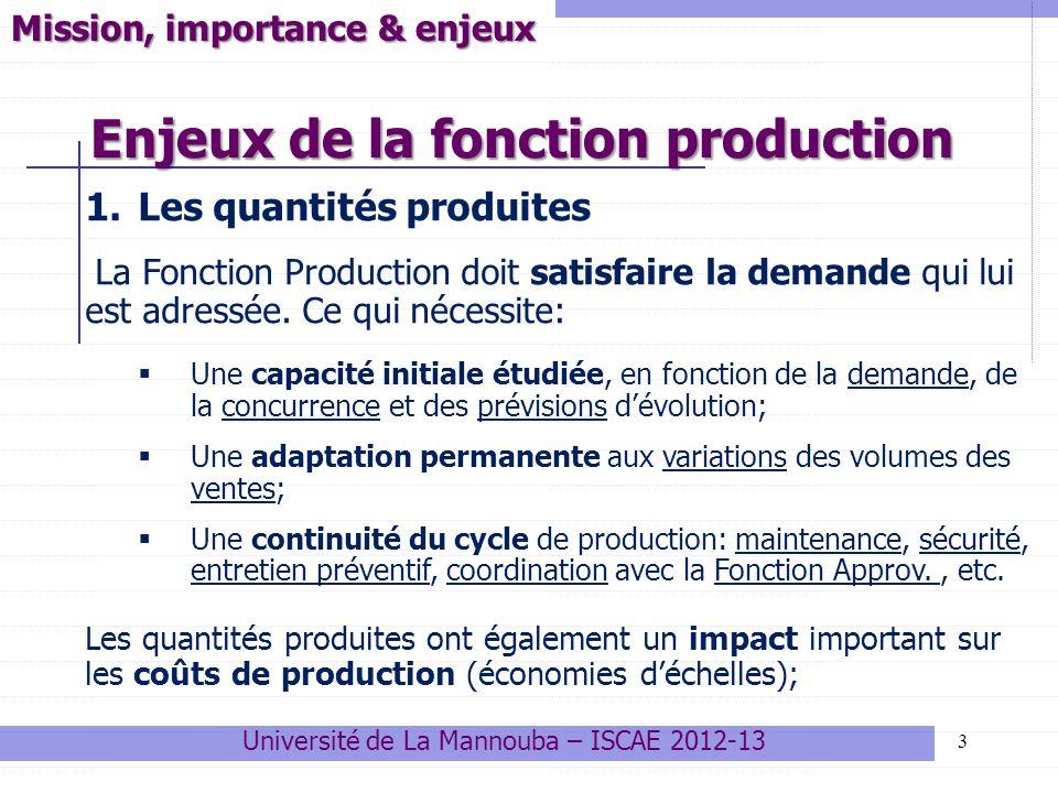 Elle est en charge de vérifier que les unités opérationnelles, en charge de la fabrication, respectent les conditions définies par les services de conception, notamment en termes de : Délais ; Qualité; Rendement ; Coûts de production; Il y a plusieurs procédures de contrôle, les plus courantes sont: Le contrôle par sondage sur un échantillon aléatoire Le contrôle par les agents de production pendant la fabrication Le contrôle automatisé par des machines ou appareillages spécialisés 14 Organisation de la production Université de La Mannouba – ISCAE 2012-13 4.1 La fonction contrôle 4.