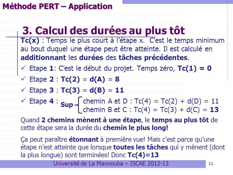 32 3. Calcul des durées au plus tôt Tc(x) : Temps le plus court à létape x. Cest le temps minimum au bout duquel une étape peut être atteinte. Il est