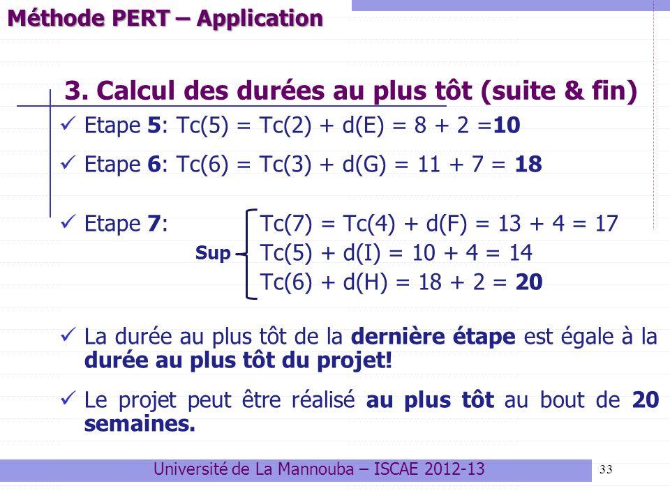 33 Etape 5: Tc(5) = Tc(2) + d(E) = 8 + 2 =10 Etape 6: Tc(6) = Tc(3) + d(G) = 11 + 7 = 18 Etape 7: Tc(7) = Tc(4) + d(F) = 13 + 4 = 17 Tc(5) + d(I) = 10