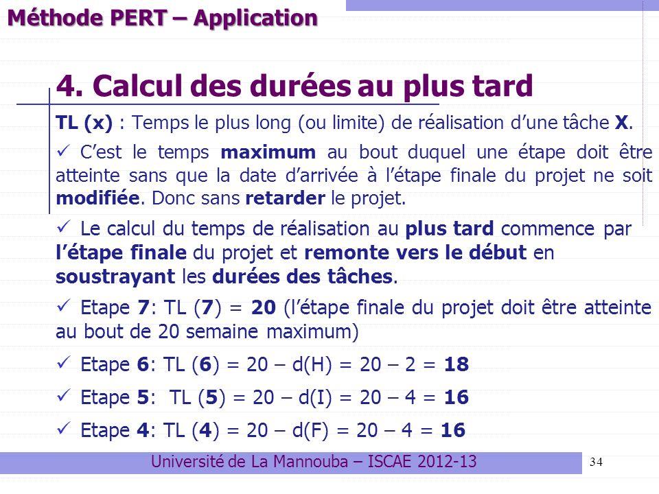 34 4. Calcul des durées au plus tard TL (x) : Temps le plus long (ou limite) de réalisation dune tâche X. Cest le temps maximum au bout duquel une éta