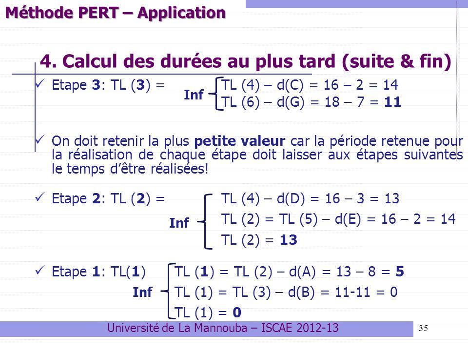 35 4. Calcul des durées au plus tard (suite & fin) Etape 3: TL (3) = TL (4) – d(C) = 16 – 2 = 14 TL (6) – d(G) = 18 – 7 = 11 On doit retenir la plus p