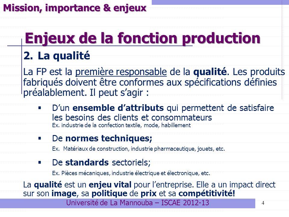 Enjeux de la fonction production 5 Mission, importance & enjeux 3.Les délais de production Cest le temps nécessaire à la fabrication, compte tenu des moyens disponibles.