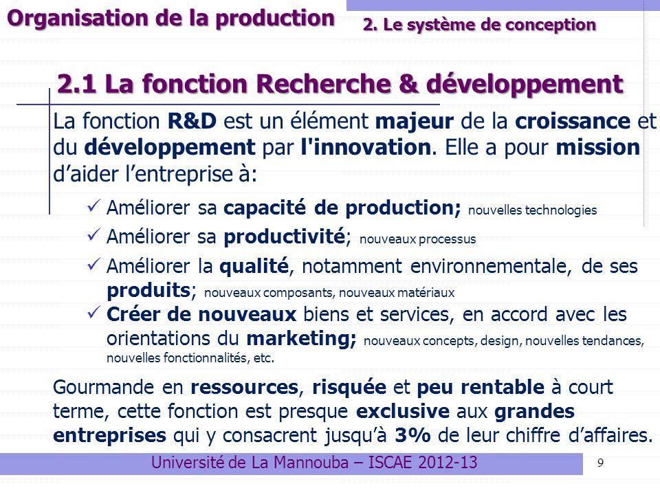 2.1 La fonction Recherche & développement La fonction R&D est un élément majeur de la croissance et du développement par l'innovation. Elle a pour mis