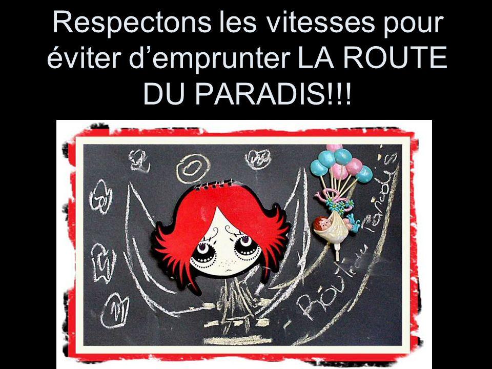 Respectons les vitesses pour éviter demprunter LA ROUTE DU PARADIS!!!