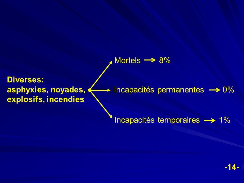Diverses: asphyxies, noyades, explosifs, incendies Mortels 8% Incapacités permanentes 0% Incapacités temporaires 1% -14-