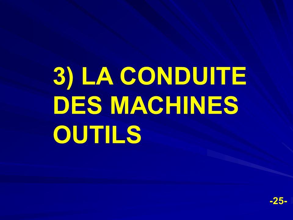 -25- 3) LA CONDUITE DES MACHINES OUTILS