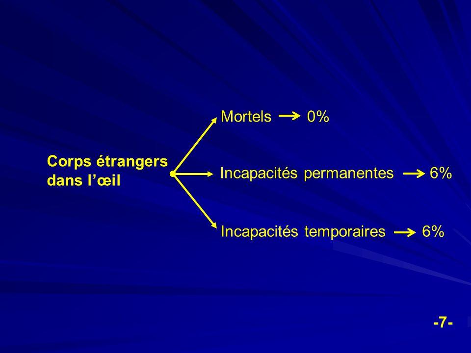 Corps étrangers dans lœil Mortels 0% Incapacités permanentes 6% Incapacités temporaires 6% -7-