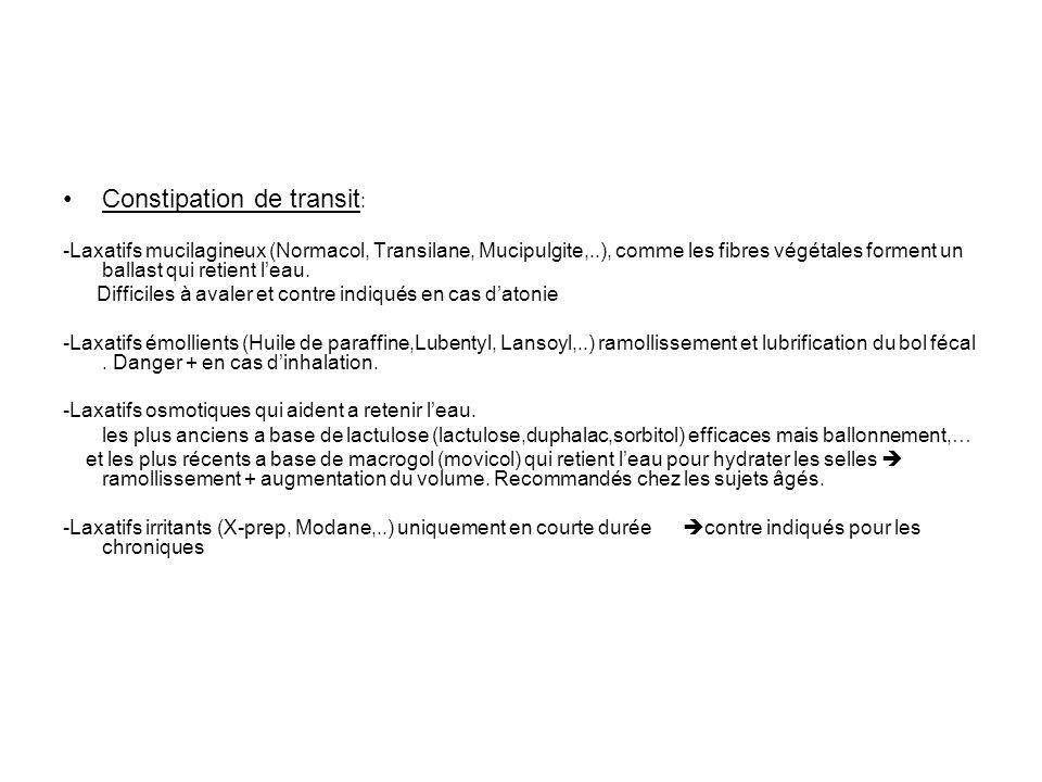 Constipation de transit : -Laxatifs mucilagineux (Normacol, Transilane, Mucipulgite,..), comme les fibres végétales forment un ballast qui retient lea