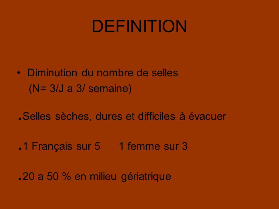 DEFINITION Diminution du nombre de selles (N= 3/J a 3/ semaine). Selles sèches, dures et difficiles à évacuer. 1 Français sur 5 1 femme sur 3. 20 a 50