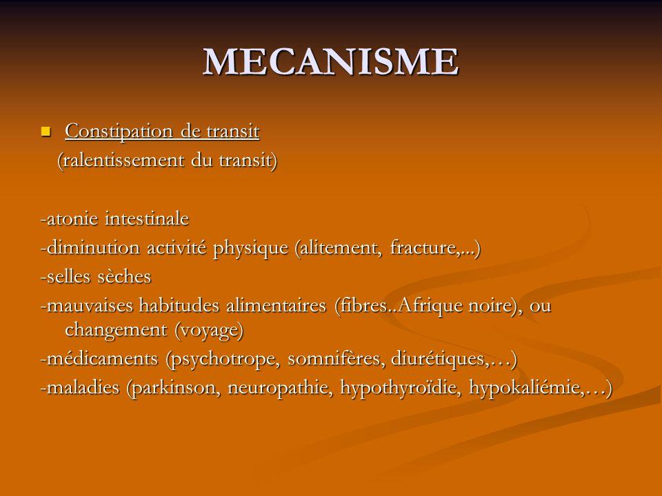 MECANISME Constipation de transit Constipation de transit (ralentissement du transit) (ralentissement du transit) -atonie intestinale -diminution acti