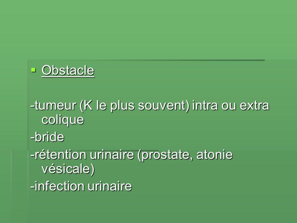 Obstacle Obstacle -tumeur (K le plus souvent) intra ou extra colique -bride -rétention urinaire (prostate, atonie vésicale) -infection urinaire