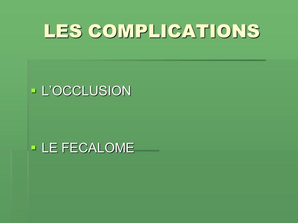 LES COMPLICATIONS LOCCLUSION LOCCLUSION LE FECALOME LE FECALOME
