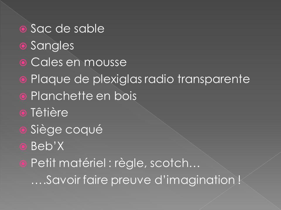 Sac de sable Sangles Cales en mousse Plaque de plexiglas radio transparente Planchette en bois Têtière Siège coqué BebX Petit matériel : règle, scotch