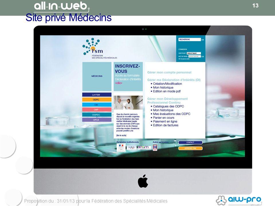 Proposition du : 31/01/13 pour la Fédération des Spécialités Médicales Site privé Médecins 13
