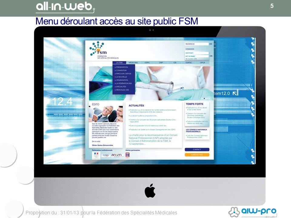 Proposition du : 31/01/13 pour la Fédération des Spécialités Médicales Menu déroulant accès au site public FSM 5