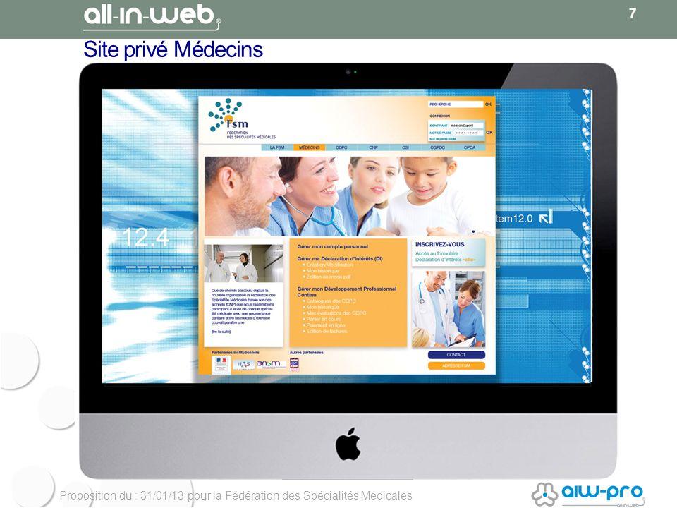 Proposition du : 31/01/13 pour la Fédération des Spécialités Médicales Site privé Médecins 7