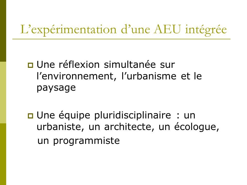 Lexpérimentation dune AEU intégrée Une réflexion simultanée sur lenvironnement, lurbanisme et le paysage Une équipe pluridisciplinaire : un urbaniste,