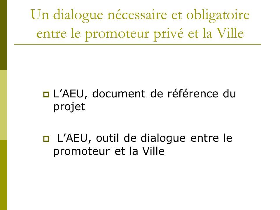 Un dialogue nécessaire et obligatoire entre le promoteur privé et la Ville LAEU, document de référence du projet LAEU, outil de dialogue entre le prom
