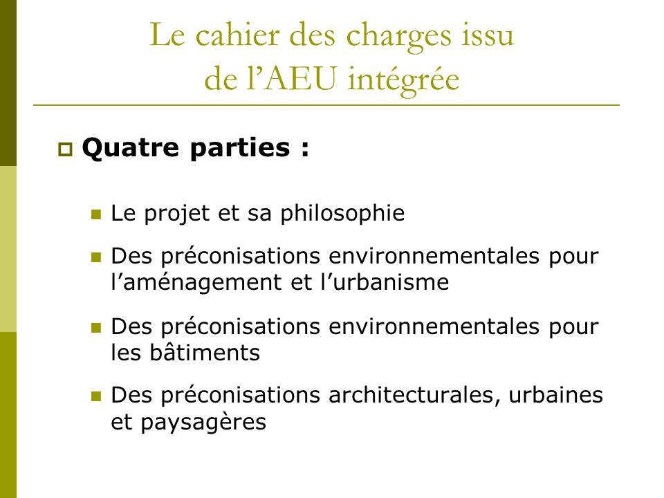 Le cahier des charges issu de lAEU intégrée Quatre parties : Le projet et sa philosophie Des préconisations environnementales pour laménagement et lur