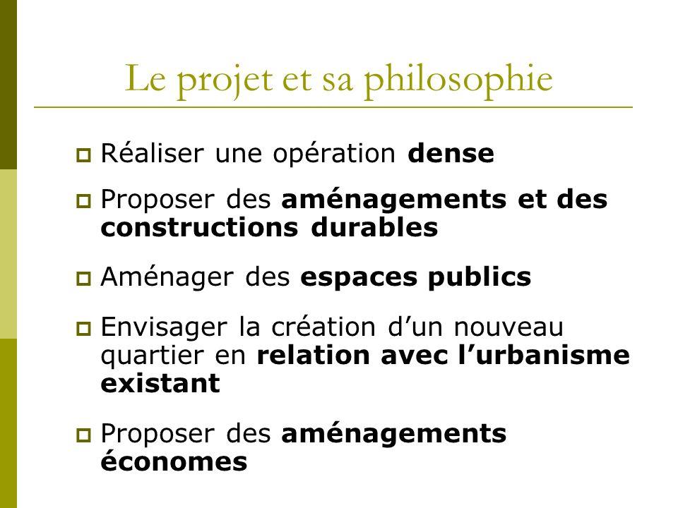 Le projet et sa philosophie Réaliser une opération dense Proposer des aménagements et des constructions durables Aménager des espaces publics Envisage