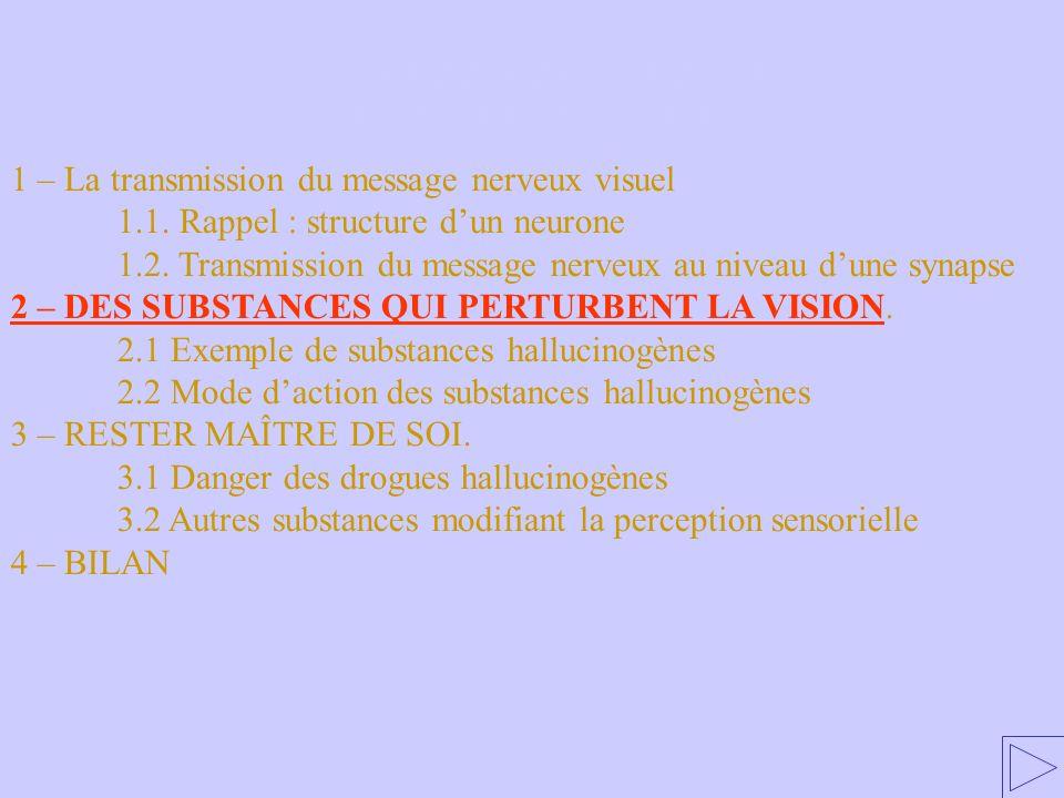 2 – DES SUBSTANCES QUI PERTURBENT LA VISION 1 – La transmission du message nerveux visuel 1.1. Rappel : structure dun neurone 1.2. Transmission du mes