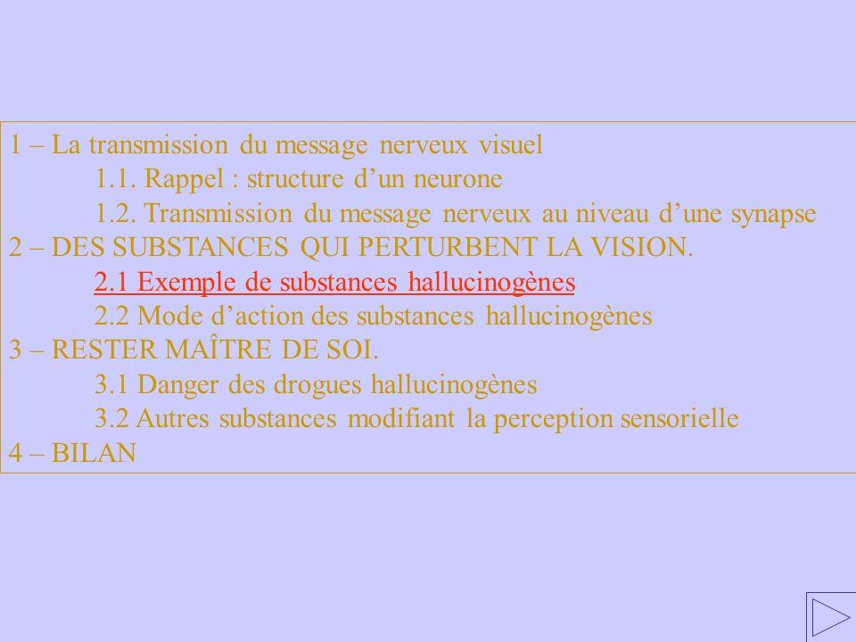 2.1 Exemple de substances hallucinogènes 1 – La transmission du message nerveux visuel 1.1. Rappel : structure dun neurone 1.2. Transmission du messag