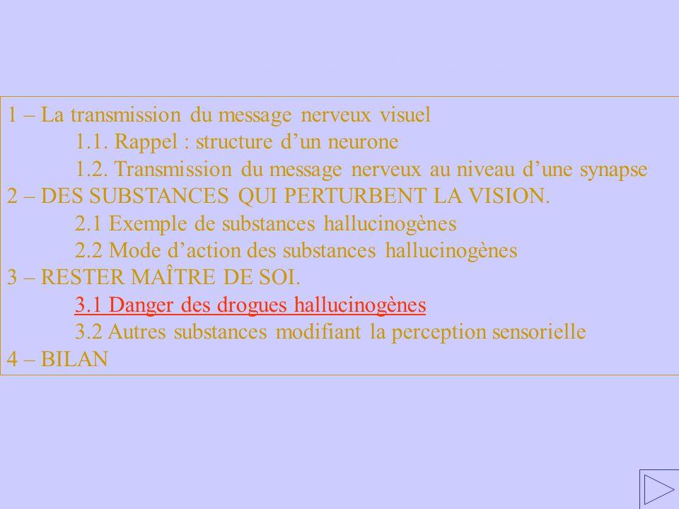 3.1 Danger des drogues hallucinogènes 1 – La transmission du message nerveux visuel 1.1. Rappel : structure dun neurone 1.2. Transmission du message n