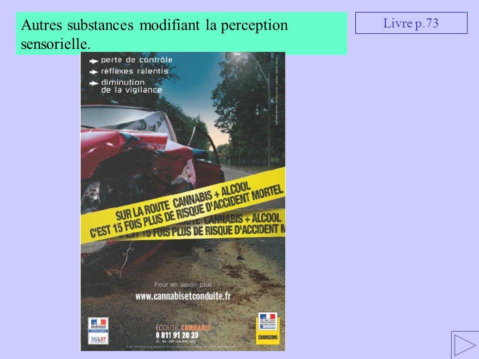 Livre p.73 Autres substances modifiant la perception sensorielle.