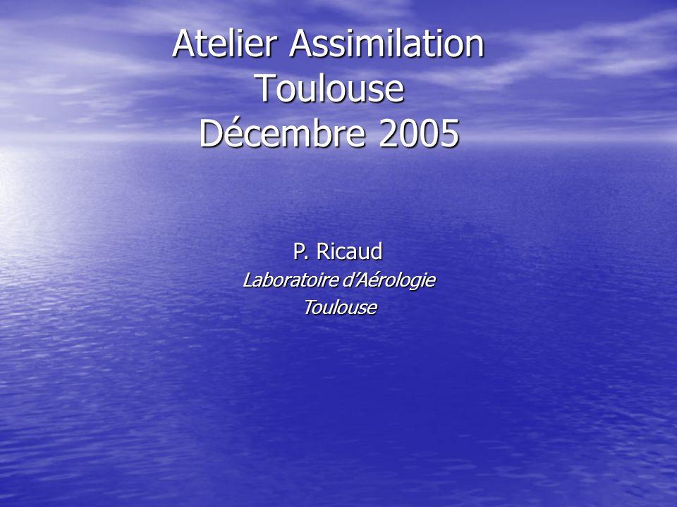 Atelier Assimilation Toulouse Décembre 2005 P. Ricaud Laboratoire dAérologie Toulouse