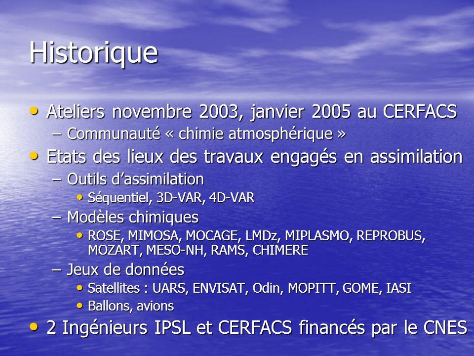 Historique Ateliers novembre 2003, janvier 2005 au CERFACS Ateliers novembre 2003, janvier 2005 au CERFACS –Communauté « chimie atmosphérique » Etats des lieux des travaux engagés en assimilation Etats des lieux des travaux engagés en assimilation –Outils dassimilation Séquentiel, 3D-VAR, 4D-VAR Séquentiel, 3D-VAR, 4D-VAR –Modèles chimiques ROSE, MIMOSA, MOCAGE, LMDz, MIPLASMO, REPROBUS, MOZART, MESO-NH, RAMS, CHIMERE ROSE, MIMOSA, MOCAGE, LMDz, MIPLASMO, REPROBUS, MOZART, MESO-NH, RAMS, CHIMERE –Jeux de données Satellites : UARS, ENVISAT, Odin, MOPITT, GOME, IASI Satellites : UARS, ENVISAT, Odin, MOPITT, GOME, IASI Ballons, avions Ballons, avions 2 Ingénieurs IPSL et CERFACS financés par le CNES 2 Ingénieurs IPSL et CERFACS financés par le CNES