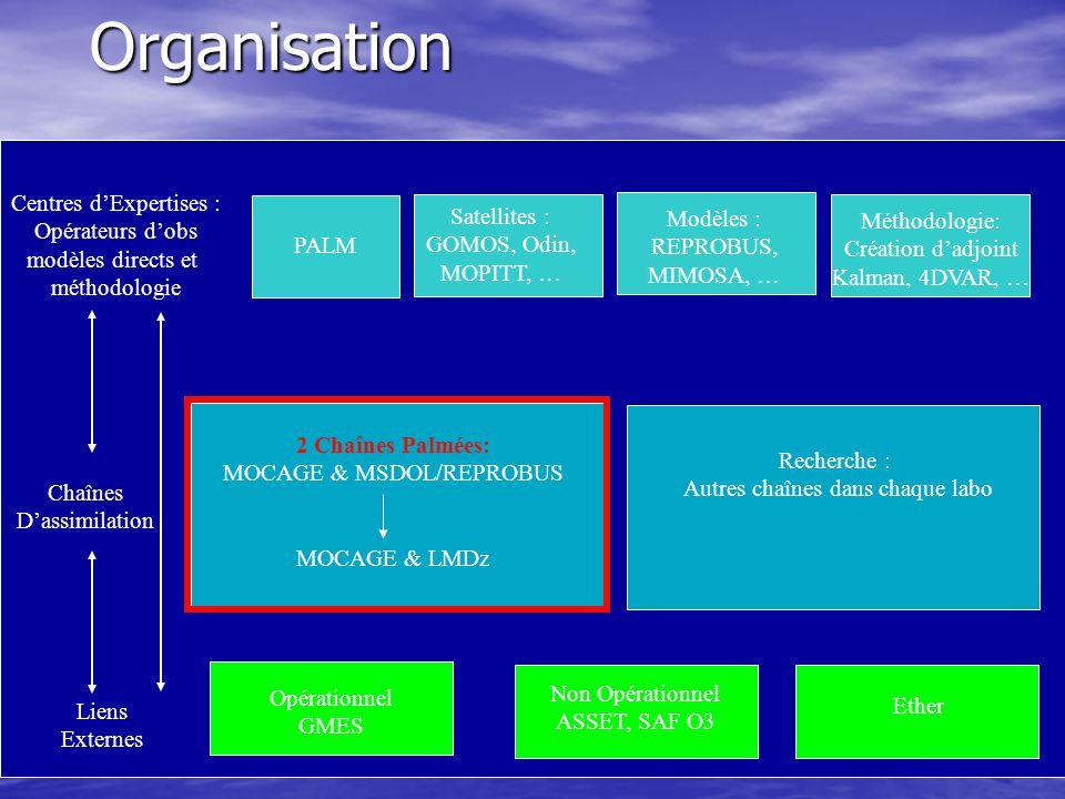Centres dExpertises : Opérateurs dobs modèles directs et méthodologie Satellites : GOMOS, Odin, MOPITT, … Modèles : REPROBUS, MIMOSA, … PALM Chaînes Dassimilation 2 Chaînes Palmées: MOCAGE & MSDOL/REPROBUS MOCAGE & LMDz Recherche : Autres chaînes dans chaque labo Opérationnel GMES Non Opérationnel ASSET, SAF O3 Liens ExternesOrganisation Méthodologie: Création dadjoint Kalman, 4DVAR, … Ether