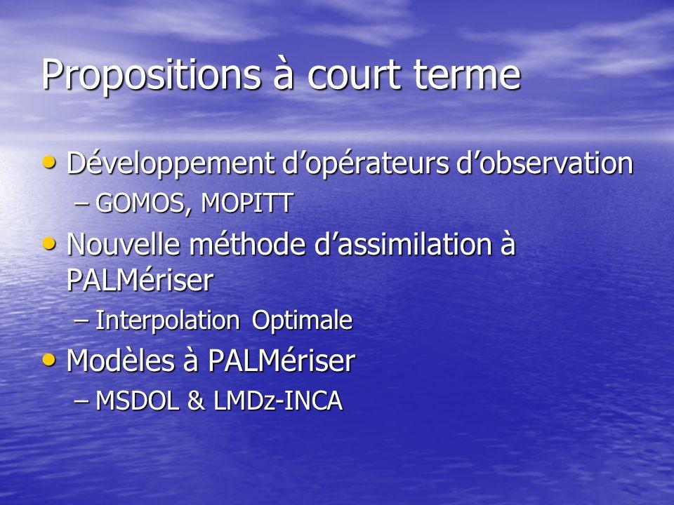 Propositions à moyen terme (4 ans) assimiler une même espèce chimique provenant de plusieurs capteurs spatiaux différents dans la troposphère ou la stratosphère (O3 et CO), assimiler une même espèce chimique provenant de plusieurs capteurs spatiaux différents dans la troposphère ou la stratosphère (O3 et CO), coupler les mesures stratosphérique et troposphérique pour une même espèce chimique provenant de plusieurs capteurs spatiaux différents (O3, CO et HNO3), coupler les mesures stratosphérique et troposphérique pour une même espèce chimique provenant de plusieurs capteurs spatiaux différents (O3, CO et HNO3), assimiler plusieurs espèces chimiques de la même famille provenant de plusieurs capteurs spatiaux différents (NOy, Cly), assimiler plusieurs espèces chimiques de la même famille provenant de plusieurs capteurs spatiaux différents (NOy, Cly), assimiler les mesures directes (températures de brillance, radiances), assimiler les mesures directes (températures de brillance, radiances), fournir des champs prévisionnels de constituants chimiques (O3, CO), fournir des champs prévisionnels de constituants chimiques (O3, CO), étudier limpact de lassimilation de traceurs chimiques (O3) sur lassimilation et la prévision météorologique (vents dans la basse stratosphère, rayonnement,…).