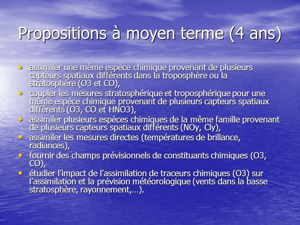 Propositions à moyen terme (4 ans) assimiler une même espèce chimique provenant de plusieurs capteurs spatiaux différents dans la troposphère ou la st