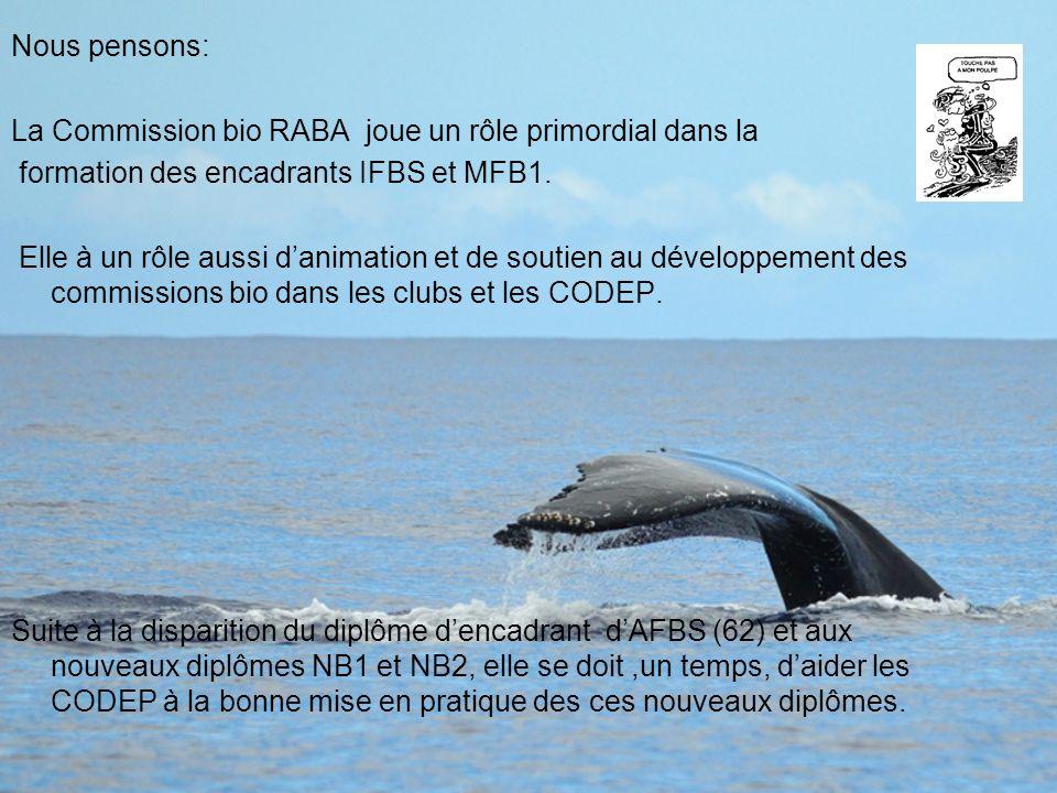 Nous pensons: La Commission bio RABA joue un rôle primordial dans la formation des encadrants IFBS et MFB1. Elle à un rôle aussi danimation et de sout