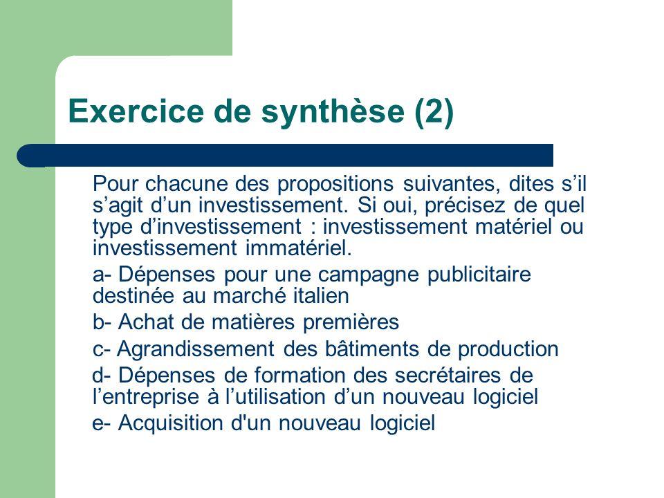 Exercice de synthèse (2) Pour chacune des propositions suivantes, dites sil sagit dun investissement. Si oui, précisez de quel type dinvestissement :