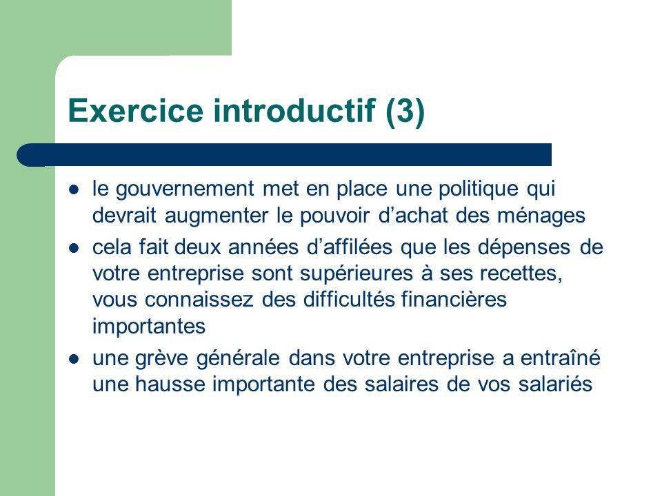 Exercice introductif (3) le gouvernement met en place une politique qui devrait augmenter le pouvoir dachat des ménages cela fait deux années daffilée