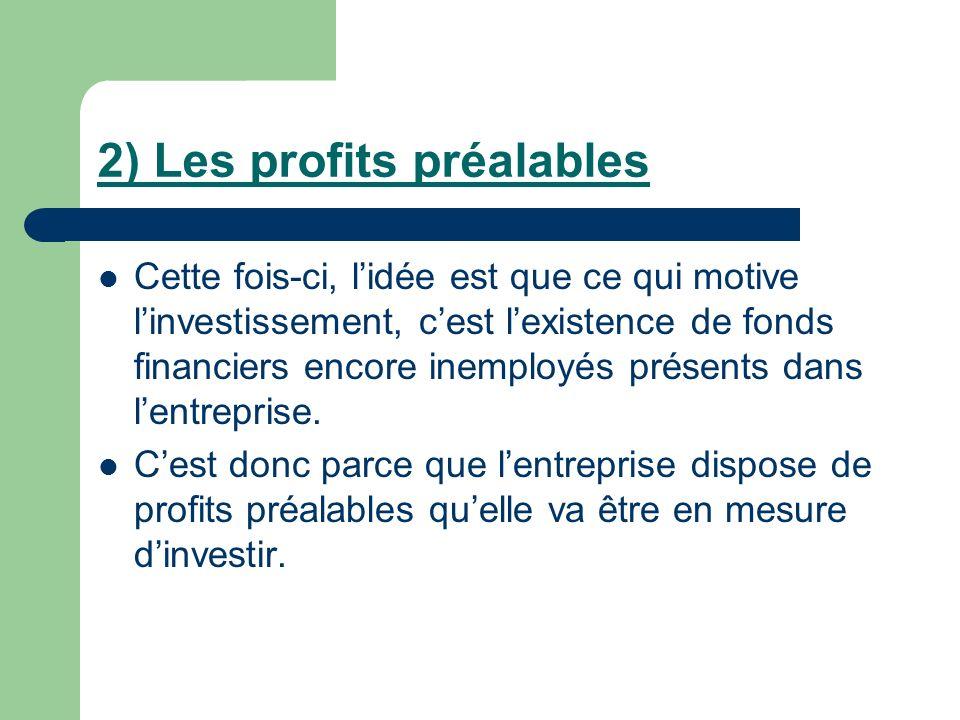 2) Les profits préalables Cette fois-ci, lidée est que ce qui motive linvestissement, cest lexistence de fonds financiers encore inemployés présents d
