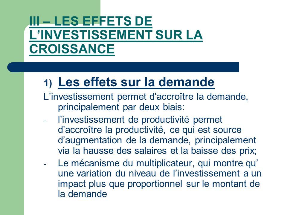 III – LES EFFETS DE LINVESTISSEMENT SUR LA CROISSANCE 1) Les effets sur la demande Linvestissement permet daccroître la demande, principalement par de