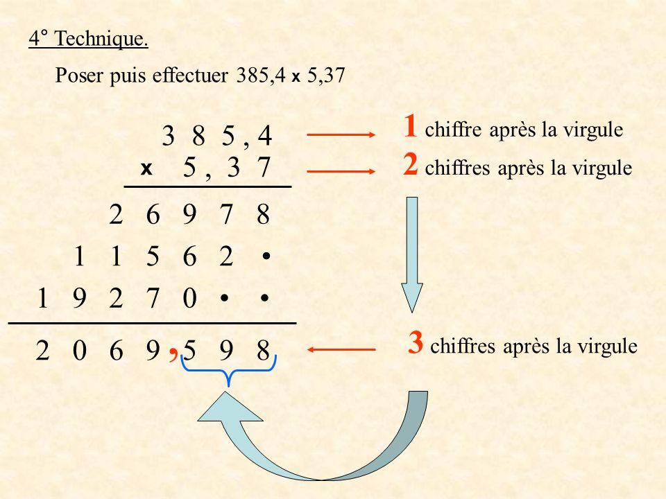 4° Technique. Poser puis effectuer 385,4 x 5,37 3 8 5, 4 x 5, 3 7 8792 6 2651 0721 9 8959602 1 chiffre après la virgule 2 chiffres après la virgule 3
