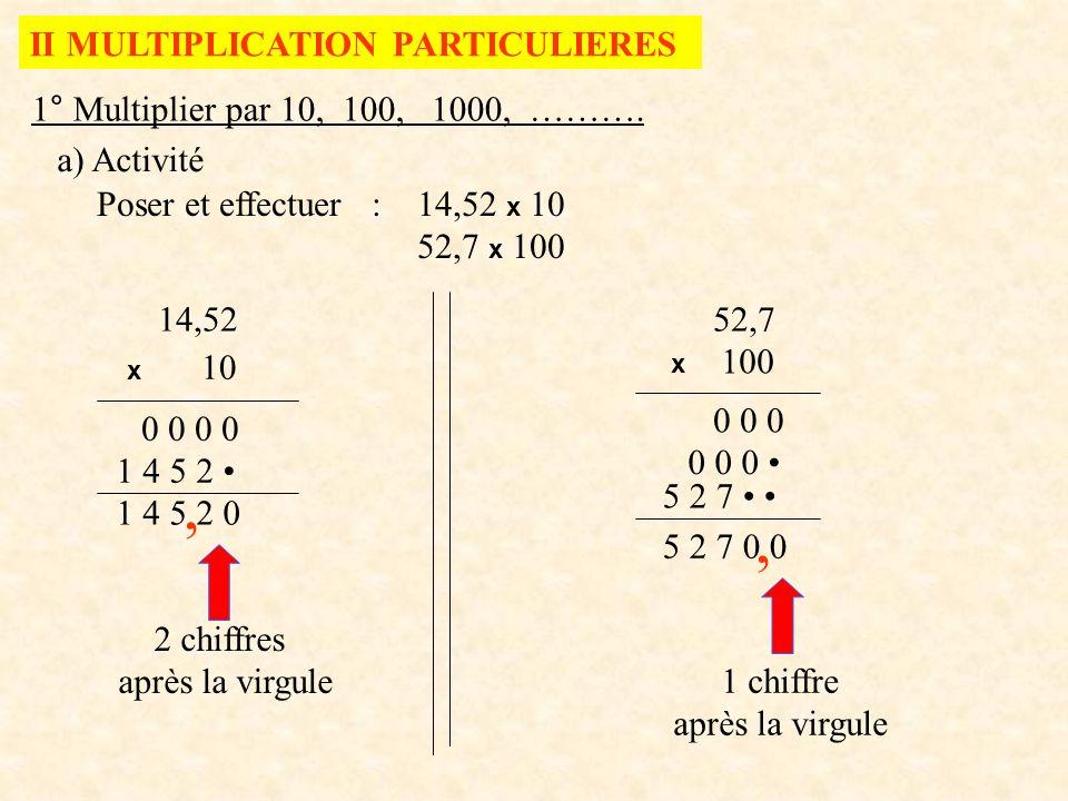 1° Multiplier par 10, 100, 1000, ………. a) Activité II MULTIPLICATION PARTICULIERES Poser et effectuer : 14,52 x 10 52,7 x 100 14,52 x 10 1 4 5 2, 52,7